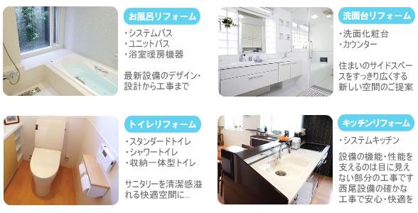 西尾設備のトイレリフォーム、お風呂リフォーム、キッチンリフォーム、洗面台リフォームを写真とコメントで解説。