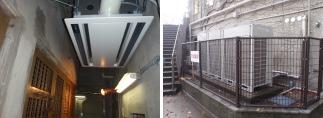 西尾設備の空調工事。神戸市王子動物園の施工写真。空調設備の屋内外の写真。